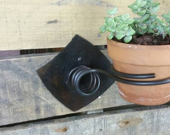 Contemporary Industrial Rustic Metal Wall Mount Planter Holder