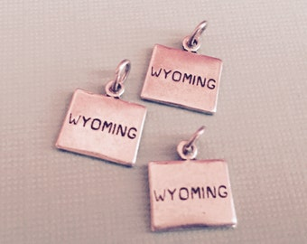Wyoming State Charm Pendant with Loop, Antique Silver, Great for Charm Bracelets, Necklaces, Earrings