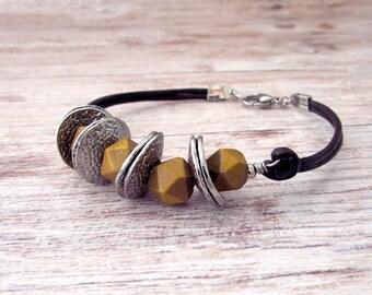 Boho Stackable Leather Bracelet - Geometric Stacking Bracelet - Stackable Leather Bracelet - Layering Leather Bracelet - Wood Bead - Mustard