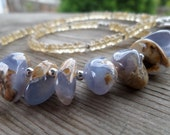 Citrine and Natural Chalcedony Sterling Silver and Fine Silver Gemstone and Birthstone Necklace