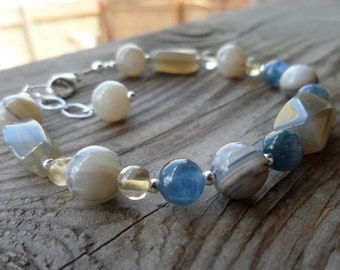 Genuine Soft Faceted Montana Agate, Kyanite, Chalcedony, and Citrine Sterling Silver Bracelet