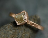 Conflict Free Cube Diamond on Hammered 14k Recycled Rose Gold Ring- reserved listing