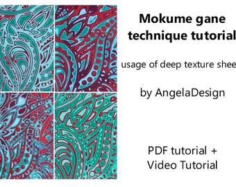 Polymer Clay Mokume Gane technique tutorial usage of deep texture sheets ,Tutorial , eBook ,PDF, video