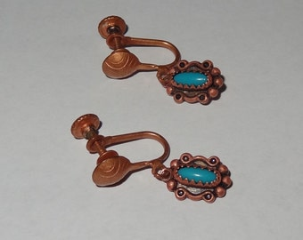 Vintage Solid Copper Screw Back Turquoise Dangle Drop Earrings