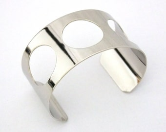 Silver Plated Cuff 1.5 Inch Wide 3 Round Cutouts Ready Crafting Or Wear   SALE While Supplies Last