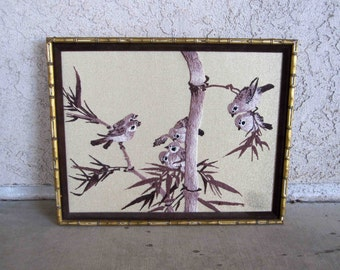 Vintage Needlepoint of Birds on Bamboo Tree with Bamboo Frame. Circa 1960's.