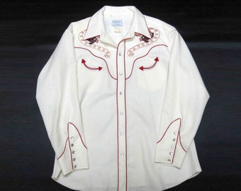 Vintage H Bar C Western Shirt in Off White with Embroidered Eagles and Banners with Stars. Circa 1970's.