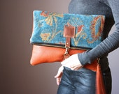 Carpet leather bag, Large Leather foldover clutch, leather bag, tapestry fabric and rust leather clutch, large leather charm