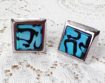 Heavy Art Glass Cuff Links / Cufflinks by Kent, Silver Tone Metal, Beveled Blue and Black Swirled Glass, Square / Squares