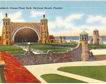 Vintage Florida Postcard - The Bandshell in Oceanfront Park, Daytona Beach (Unused)