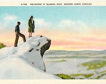 Vintage North Carolina Postcard - Winter at Blowing Rock (Unused)