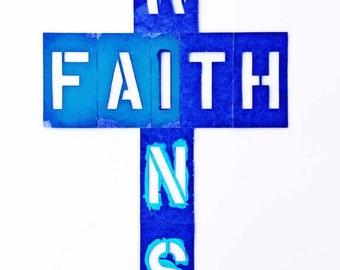 Faith Wins GICLEE ART PRINT, 4 x 6, Cross, Decorative Cross, Art Cross, Christian Art, Christian Gift, Get Well, Blue Cross, Housewarming