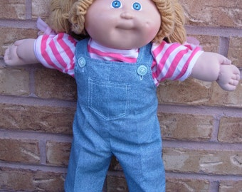 "16"" Cabbage Patch Doll Clothes, Bib Overall Pants, Pink Stripe Shirt, Pink Shorts"