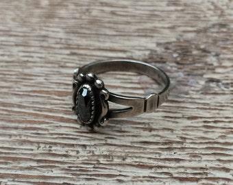 Vintage Hematite Ring Sterling Silver WM Co Wheeler