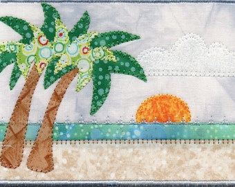 Sunrise on Ft Lauderdale Beach Quilted Fabric Postcard