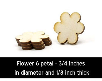 Unfinished Wood Flower - 3/4 inches in diameter and 1/8 inch thick wooden shape (FLOW02)