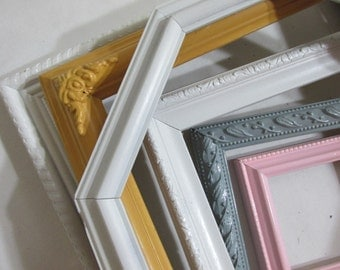 Picture Frames Upcycled Vintage Set of 6 Various Size Open Frames