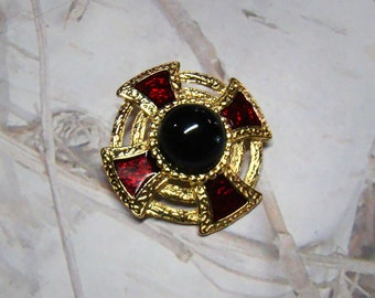 Vintage Royal Brooch Excessive 1980s MJ Military Tudor Style Red and Gold Brooch