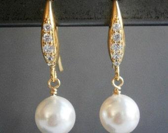Pearl Earrings, Gold Earrings,  CZ Earrings,  Bridal Jewelry, Bridesmaid Jewelry