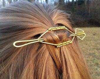 Geometric hair barrette Brass hair pin Metal hair slide Shawl pin Hair stick Hair fork Women gift Women accessories Hair accessories