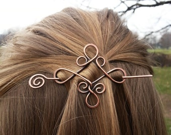 Celtic knot Celtic hair slide Rustic copper hair holder Metal hair pin Boho hair barrette Women hair accessories Womens gift Hair clip