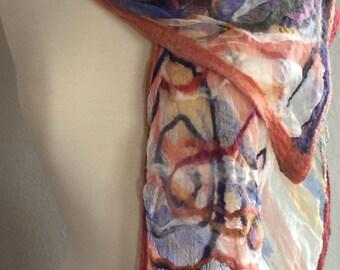 FIBERSPACEART, Nuno felted shawl,OOAK chiffon silk and merino top