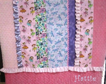 Girl Baby Quilt, Pink Purple Scrappy Ruffle Blanket, princess personalized minky, embroidered child name, crib blanket, rick rack, ballerina