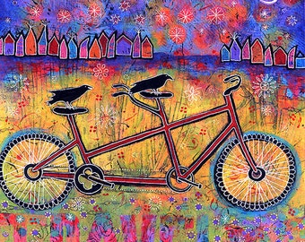 Whimsical Bird Couple Gallery Wrap Canvas Print, Art Print of Bicycle Built for Two