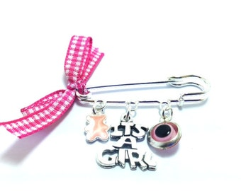 Lucky Evil Eye Safety Pin - it's a girl - New mommy - Baby shower - baptism - birth - stroller - baby gift