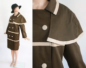 Vintage 60s Iconic Mod Jacket / 1960s Coat / Space Age / Contrasting Olive Green + Ivory Faux Leather / Pleather / Avant Garde / Large