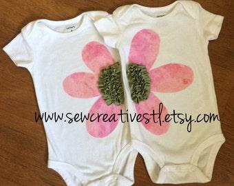 Flower Power Together baby girl twin onesie set