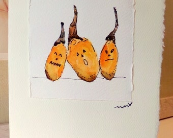 "Halloween Pals  Watercolor Original ""Big Card"" 5x7 With Matching Envelope  betrueoriginals"