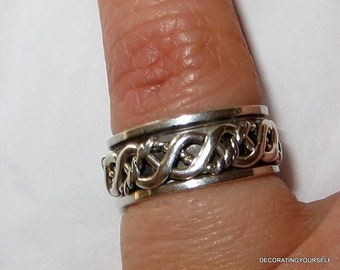 Celtic Spinner Band Sterling Silver Ring Size 6