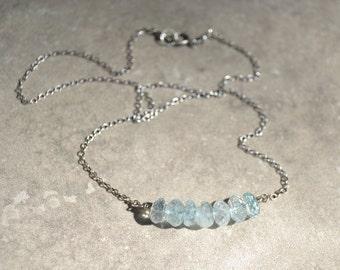 Aquamarine Necklace, March Birthstone Birthday, Sterling Silver, Gift For Her, Wish by SplendorVendor