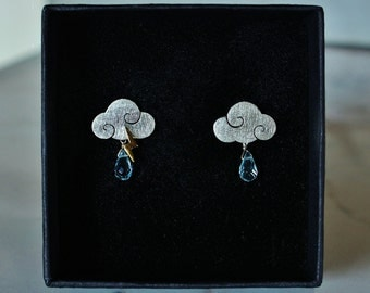 "Earrings ""SWEET CLOUDS"" sterling silver clouds with rain drop and lightning"