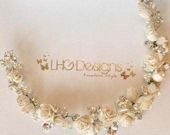 Bridal headpiece, bridal floral crown, wreath, bridal vine, bridal flower crown, circlet, ivory flowers, bridal headband, bridal hair vine