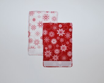 Luggage Handle Wraps set of two reversible Redwork Snowflakes traveler teacher gift Quiltsy Handmade