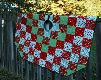 Extra Large Quilted Christmas Tree Skirt Around the World 66 inch diameter