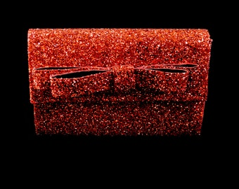 Red Glitter Bow Clutch Bag - FREE SHIPPING WORLDWIDE