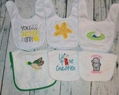 CLEARANCE Baby Bibs Burpcloth Burpie Assorted  SAMPLES Ready to Ship