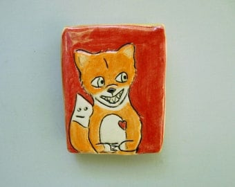 Fox Art, Mini Wall Art, Red and Orange Wall Tile with Delighted Fox and His Tail, Home Decor, Animal Art Pottery