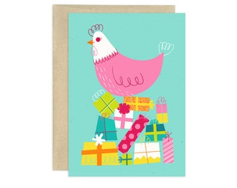 Happy Birthday Henny Illustrated Birthday Card