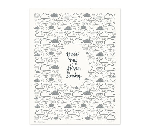 You're My Silver Lining Illustrated Art Print