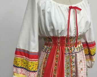 1970s Boho Peasant Maxi Dress - Folk Festival Hippie Style - Off The Shoulder Dress - Summer Maxi - Multi Colored Hippie Dress - 40 Bust