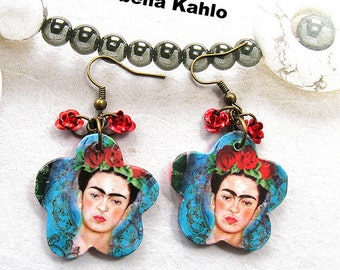 FRIDA KAHLO Flowers earrings red roses Day of the dead mexico folk altered art Dia de los Muertos UNIQUE collectible Popular Items