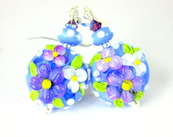 Blue Purple Pink Floral Dangle Earrings, Colorful Pastel Earrings, Nature Earrings, Lampwork Earrings, Romantic Earrings, Garden Earrings
