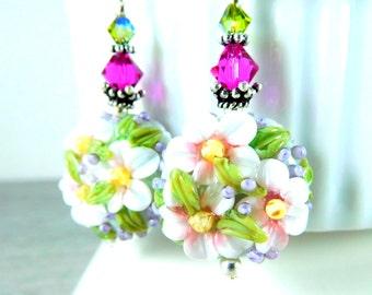 White Pink Sage Green Floral Dangle Earrings, Cottage Chic Earrings, Botanical Earrings, Lampwork Earrings, Pastel Flowers, Nature Jewelry
