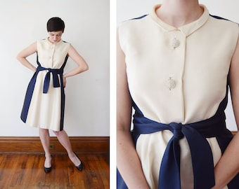 1960s Navy and Cream Tee-Ca Cocktail Dress - M
