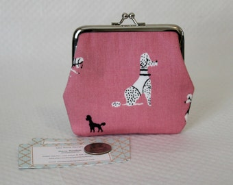 Coin Purse - Change Purse - Pink Poodle Coin Purse- Pink Change Purse - Kiss Lock Coin Purse