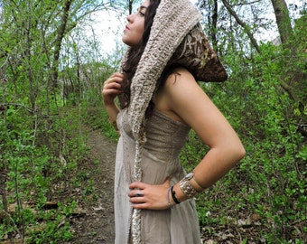 SALE 20% OFF Elven goddess crochet reversible festival hood